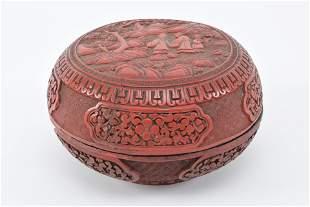 19th century Chinese carved cinnabar round covered box.