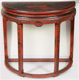 19th/20th century Chinese red lacquered pier table.