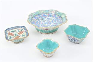 Lot of 4 Chinese 19th century turquoise ground