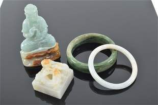 Lot of jade carvings. China. 20th century. To include: