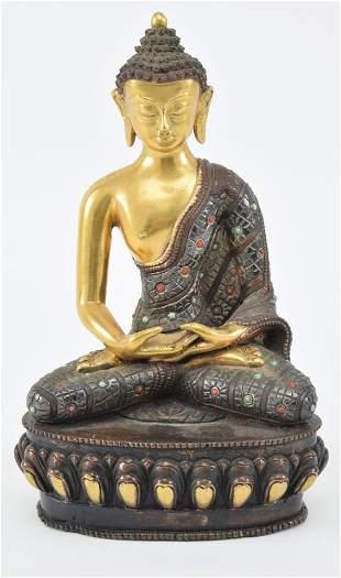 Bronze buddha. Nepal. 20th century. Seated figure.