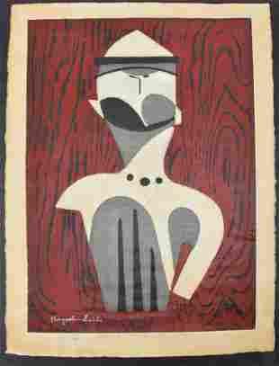 Kyoshi Saito. 1955. Color woodblock. Abstract figural