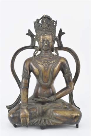 Nepalese bronze sculpture with copper and silver