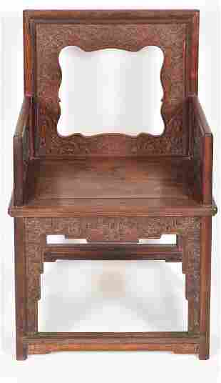 """Chinese Qing period finely carved hardwood """"Rose"""""""