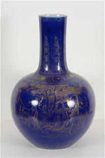 Blue monochrome and gilt porcelain floor vase. China.