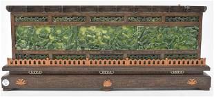 Chinese carved jade dragon relief plaques in wooden