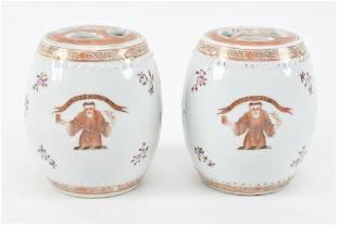 Pair Samson porcelain lidded jars with Monk and floral