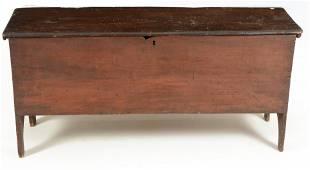 18th century six-board blanket chest. Dark red stain.