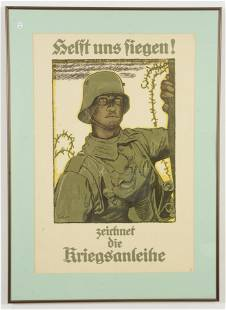 """Original German WWI poster """"Helft uns siegen!""""."""