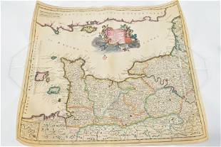 Normandy France map by Danckers. Early 18th Century.