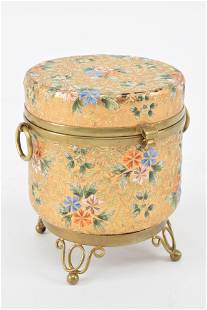 Moser gold and floral enameled round glass trinket box