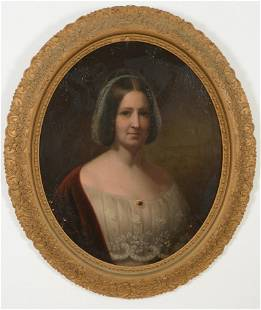 19th Century American school oval portrait. Young woman