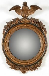 Federal style girandole mirror with raised spread-wing