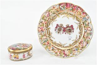 Capodimonte porcelain trinket box and coat of arms