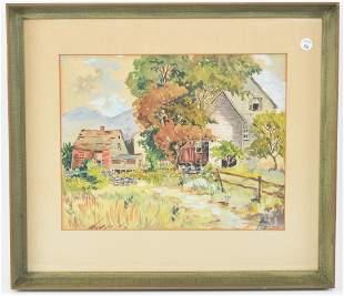 Henry. 1925. American farmhouse scene. Watercolor on