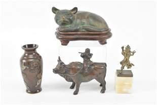 4 Asian bronze works. Including sleeping cat, water