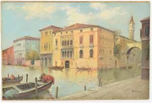 Boris B. Major. 20th Century. Venice Italy canal scene.