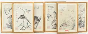 Set of 6 framed woodblock depicting birds in