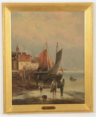 19th century Continental painting of boats in a village