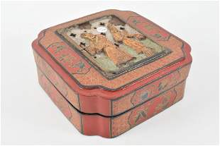 Chinese lacquered wood box with relief carved figures