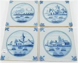 "Delft Ceramic Glazed Tiles. Set of four. 5"" x 5"""