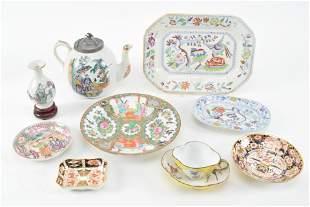 Porcelain platter, tea pot, plates and more including