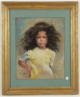 Ruth Steed signed pastel portrait of African American