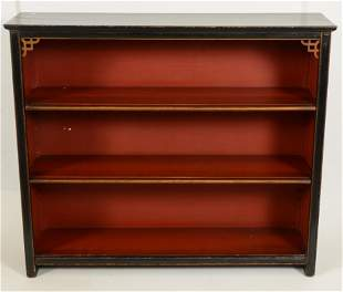 Edwardian black painted and gilt bookcase with two