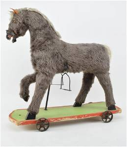 Wooden Child's Riding Horse over-sized pull toy with