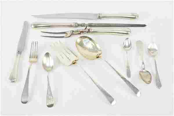 Silver flatware including pair of sterling arts and