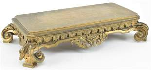 French bronze mantle stand with floral motif. Late 19th