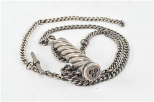 Silver cylinder pencil set on chain. late 19th Century.