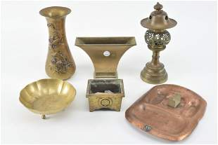 Lot of Asian metal items. Includes censers, relief