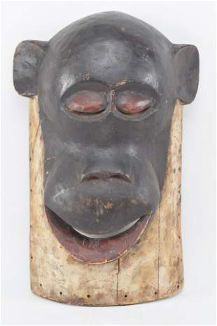 Large carved wood mask wall hanging of a Monkey. 20th