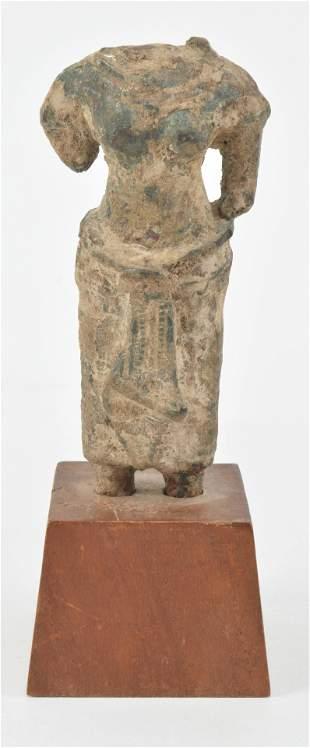 "Khmer. 13th century. Bronze figure on wood base. 2"" x"
