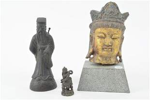 Trio Asian statues. 20th Century. Cast iron painted