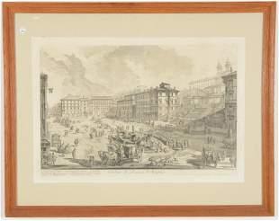 Giovanni Battista Piranesi. Engraving. Veduta di Piazza