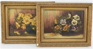 2 19th century floral still life paintings. 1 signed F.