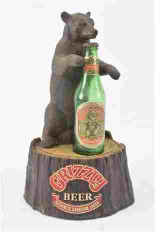 Grizzly Beer advertising display. 1980s. Plastic and