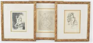 3 lithographs after Pierre-Auguste Renoir. Woman