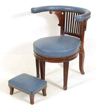 Regency style reading chair with foot stool. Blue