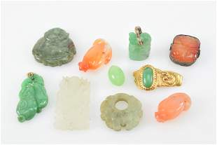 Chinese carved jade, agate, and stone items. To include