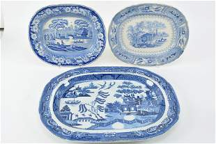 Trio of Staffordshire blue and white serving platters.