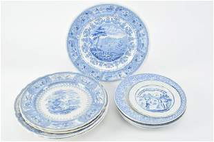Staffordshire blue and white plates and bowls including
