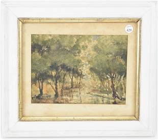 Holmes. 1893. Wooded creek scene. Watercolor on paper.