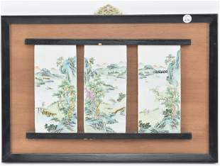 Chinese porcelain plaque triptych. 20th Century.