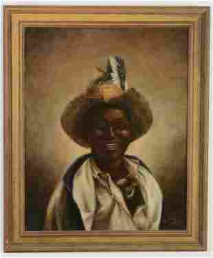 A. Genth signed oil on canvas of African American with