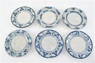 6 Dedham art pottery plates 6 inch. Magnolia, waterlily