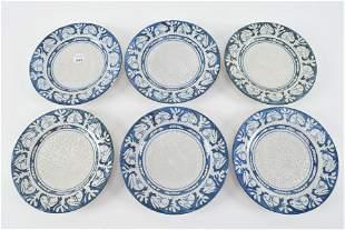 6 Dedham art pottery plates. 6 in. Rabbit borders, most