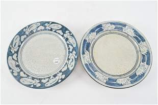 2 Dedham art pottery plates. 8.5 inch. One Water Lily